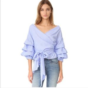 NWT Blue white gingham tiered sleeve wrap blouse